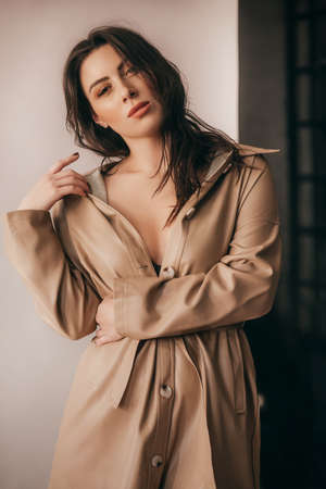 Portrait of beautiful young brunette girl with makeup in brown fashion clothes Фото со стока