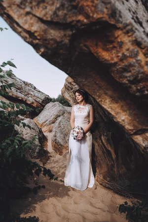 Beautiful bride in white dress
