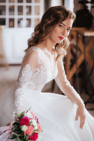 Stock Photo - Portrait of beautiful young bride