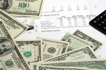 grand hard: text and charts and money Stock Photo