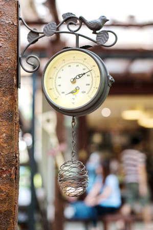 Temperature in the coffee shop Stock Photo