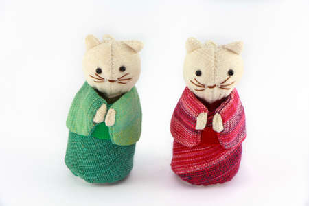 Two cat dolls isolated on white background