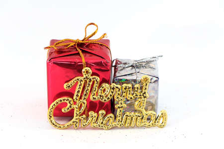 Two little boxs and Merry Christmas world for decoration