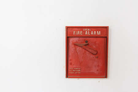 Fire Alarm isolate on wall Stock Photo