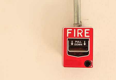 Fire Alarm isolate on wall Stock Photo - 17583189