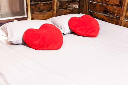 Bedroom with Heart-shaped pillow