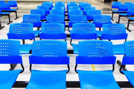 A Row of Blue Chairs  Stock Photo