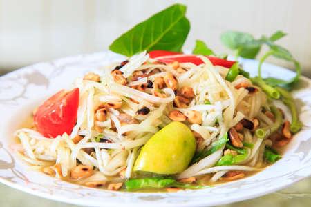 Thai papaya salad served on dish Stock Photo - 18153480