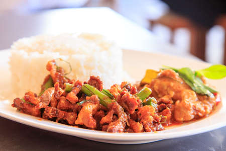 Thai curry with rice tastes good Stock Photo