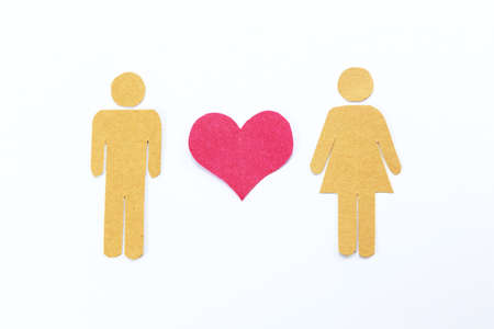 Pink heart , man and woman recycled paper craft