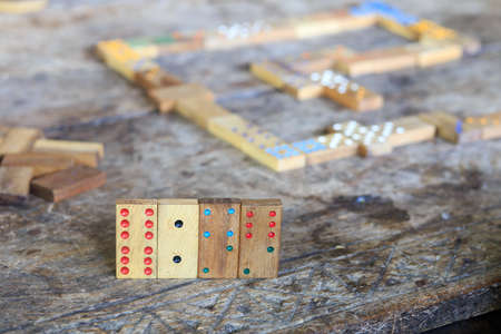 playing domino, details of  pieces Stock Photo