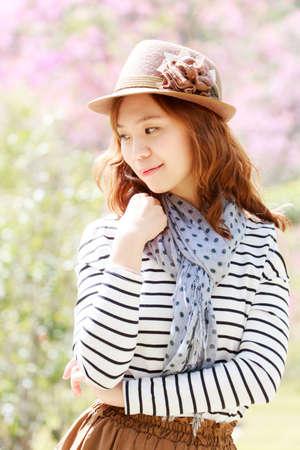 Portrait asia girl  in park outdoor