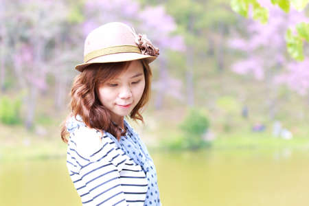 Asia woman  in park outdoor