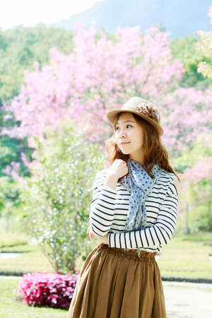 Asia woman  in park outdoor.