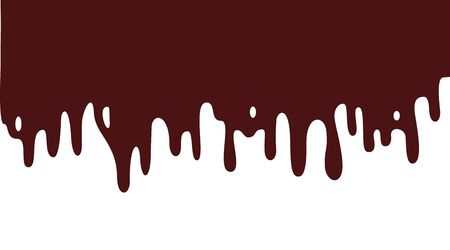 liquid chocolate cream. Dripping paint shape. Current liquid stains, inks, water. Paint flows.Vector illustration. Color isolated background.