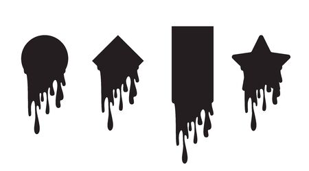 Set of dripping paint icon set. Current liquid stains, inks. Paint flows. Melted circle, star, rectangle, rhombus, square logo. Vector illustration. Color easy to edit. Transparent background.