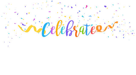 Vector isolated abstract background with many falling tiny colorful confetti pieces and ribbon streamers. Carnival, Christmas or New Year decoration colorful party pennants for birthday celebration, festival 벡터 (일러스트)