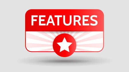 features notice button label banner red square, star. Vector isolated symbol illustration