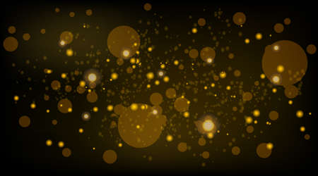Abstract background with Bokeh light effect. Night bright texture golden or silver glitter. Festive vector sparkling luminous magical dust particles for Christmas concept vector illustration.