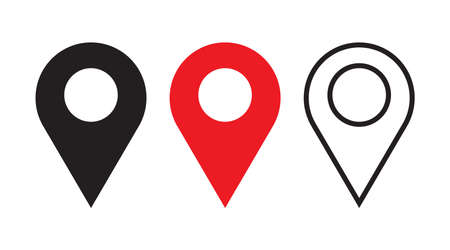Set of Map pin icon. Place symbol. GPS pictogram, flat vector sign isolated on white background. Simple vector illustration for graphic and web design. Concept of cartography, navigate, geotagging