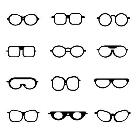 Glasses set isolated icon. Frame, silhouette vector isolated flat illustration.