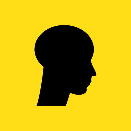 Vector silhouette of human face in profile. Portrait young beautiful man, boy looking side. Design banner. Close up isolated illustration.