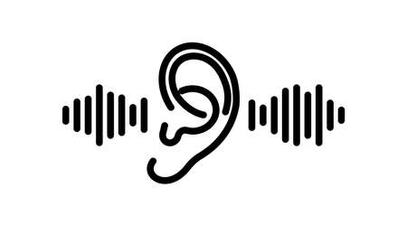 ear icon line. Hearing, listen symbol isolated on white background. Vector illustration