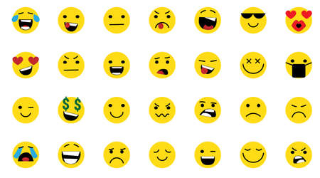 Face icons, Feedback in form of emotions. Rank, level of satisfaction rating. User experience. Review of consumer. Scale with colored segments. Vector Isolated illustration