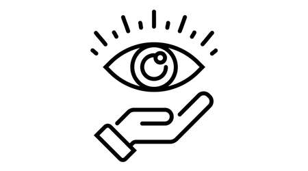 Hand holds Eye icon. Line Vector illustration. cyber vision isolated element. Metaphor of strategy in business