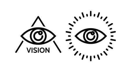 Eye icon. Line Vector illustration. cyber vision isolated element. Metaphor of strategy in business. Ilustrace