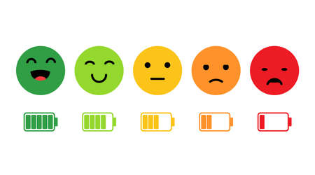 Rank, level of satisfaction rating. Face icons, Feedback in form of emotions. User experience. Review of consumer. Scale with colored segments. battery charge is high and low. Vector illustration