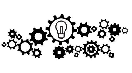 Gears in Progress design banner., Big idea, icon, vector Isolated illustration. Creative thinking and imagination concept, generation of decisions, enlightenment.