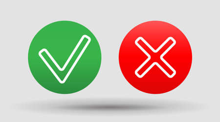 Check Icon right wrong marks and red crosses signs set of flat vector mark buttons green .vector illustration