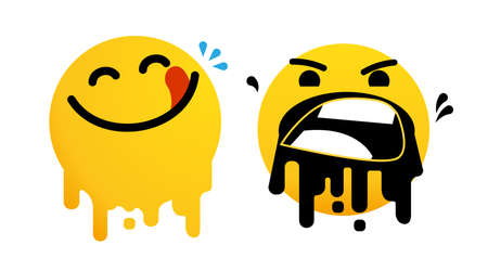 Bad experience feedback, unhappy client, overeating , tasteless, service quality, angry face, mad emoticon sticker. Yummy happy smile with tongue lick mouth. Delicious tasty food emoji, vector icon