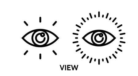 Eye icon. Line Vector illustration.  cyber vision isolated element. Metaphor of strategy in business. Ilustracja