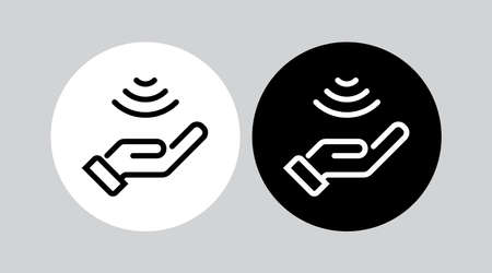 Touch signal, Hand sensor control. Vector icon isolated.