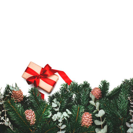 Gift in paper wrapping with red bow near green beautiful branches of pine tree with cones. Place for the text. Flat lay.