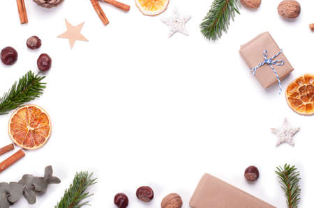 Zero waste Christmas concept flat lay. Eco and natural wrapping. Plastic free New Year. Place for text.