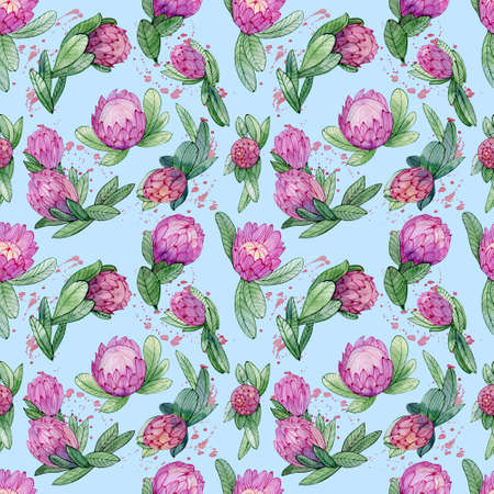 Pink protea flower watercolor pattern. Seamless tropical illustration for textile, bridal decoration.