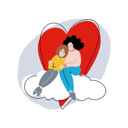 Two women in love. Valentines day greeting card. Vector illustration EPS 10. Illusztráció