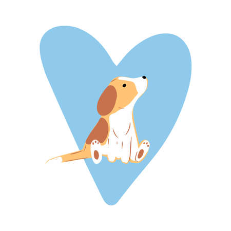 Little cute beagles with blue heart. Valentines day greeting card. Vector illustration EPS 10.