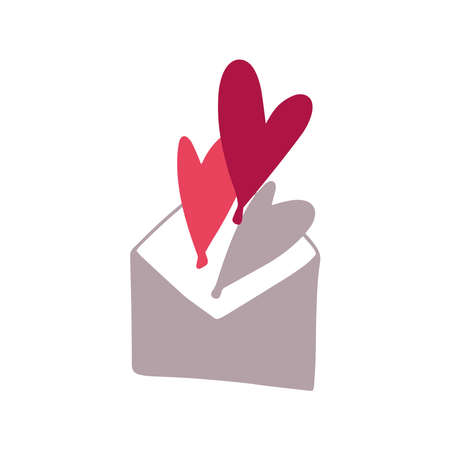 Grey envelop with red hearts. Valentines day greeting card. Vector illustration EPS 10.