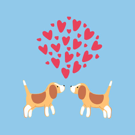 Two cute beagles with hearts on blue backgrpund.Valentines day greeting card. Vector illustration EPS 10.