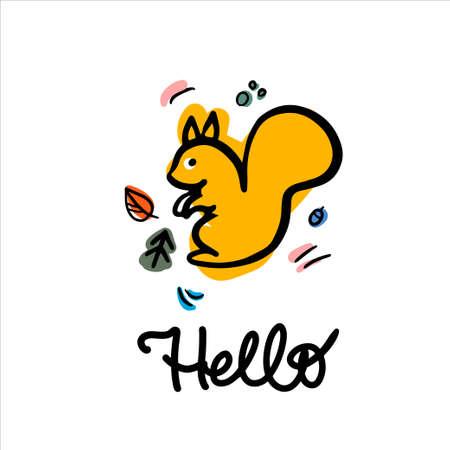Happy squirell vector illustration. Hello lettering calligraphy. Invitation carts, postcard, logos prints