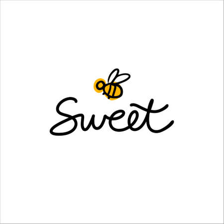 Hand drawn lettering Sweet with cartoon bee. concept for honey shop, bakery, cake shop Stock fotó - 138436179