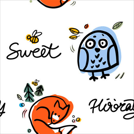 Funny owl and fox vector seamless pattern. Colorful forest ornament for textile, background, fabric. Cartoon character bird. Illusztráció