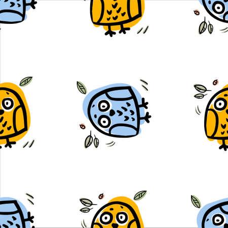 Funny owl vector seamless pattern. Colorful ornament for textile, background, fabric. Cartoon character bird. Illusztráció