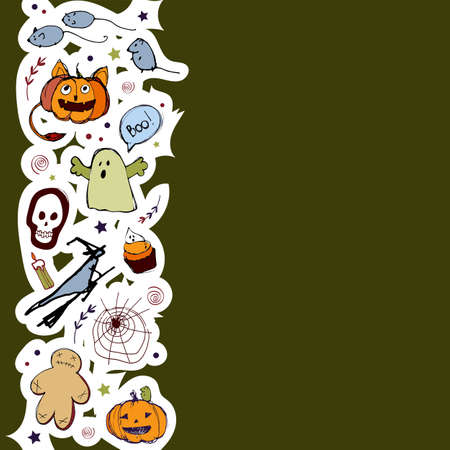 Vector handdrawn illustration. Halloween card, poster, banner invitation EPS 10