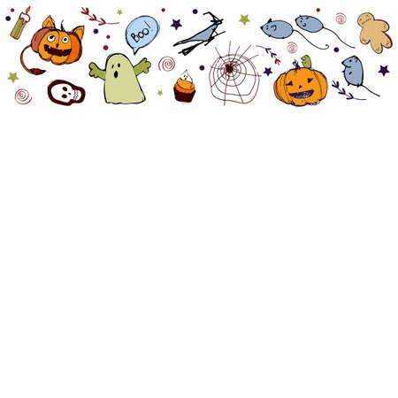 Vector handdrawn illustration. Halloween card, poster, banner invitation EPS 10 Stock fotó - 138436191