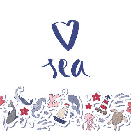 Love sea vector illustration Beautiful sea colors palette. Postcard, print, background for sealovers. Travel invitation card Illusztráció